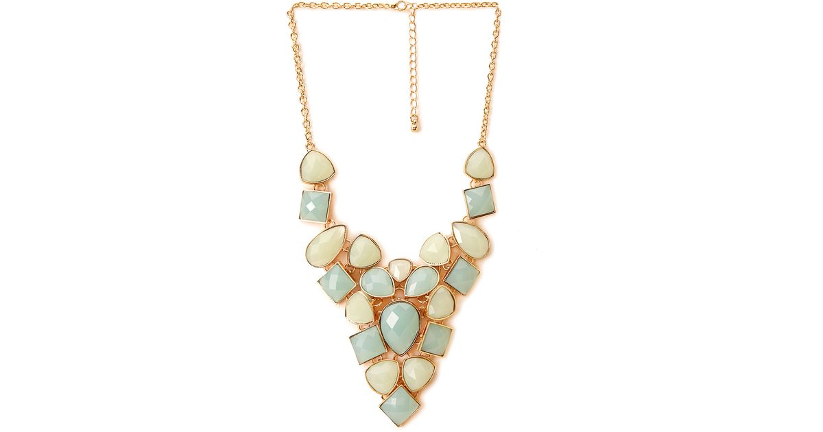 forever 21 opulent faux gemstone necklace in blue lyst