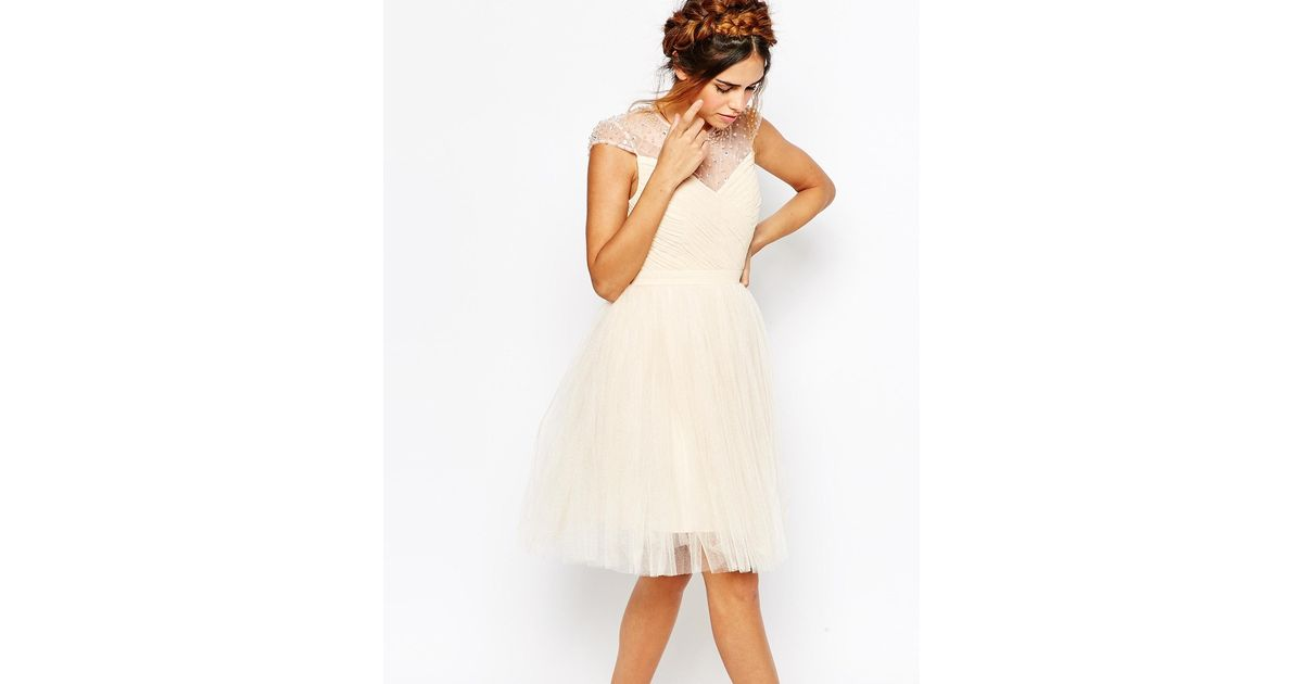 686792707a658 Little Mistress Ruched Bodice Skater Dress With Pleated Tulle Skirt in  Natural - Lyst
