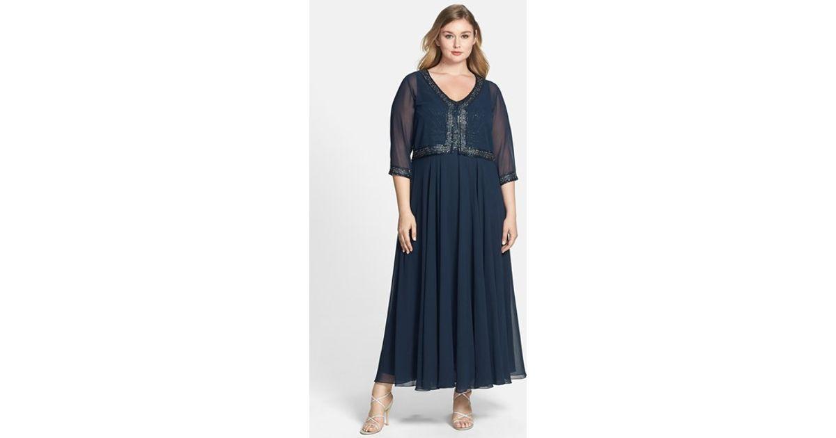 Lyst - J Kara Beaded Chiffon Dress & Bolero Jacket in Blue