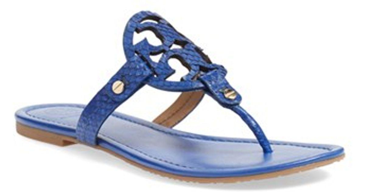 e5da02c9199593 Lyst - Tory Burch Miller Snake-Print Flip-Flops in Blue