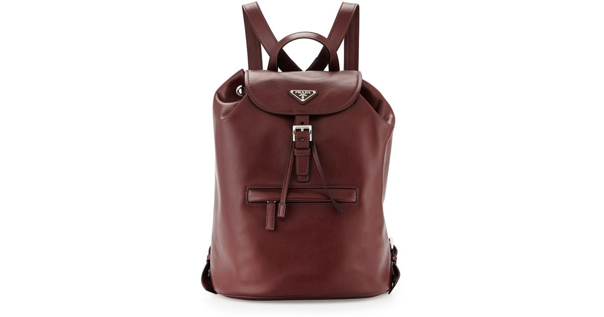 Prada Soft Calfskin Medium Backpack in Purple (bordeaux) | Lyst