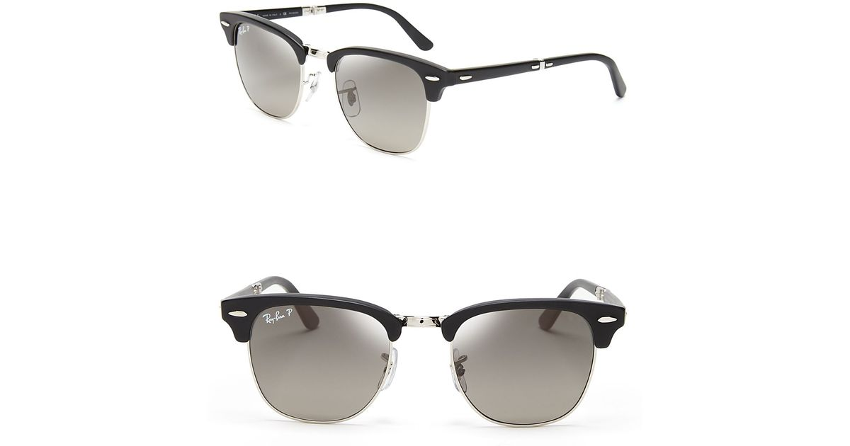 3c98242a1be Lyst - Ray-Ban Polarized Folding Clubmaster Sunglasses in Black