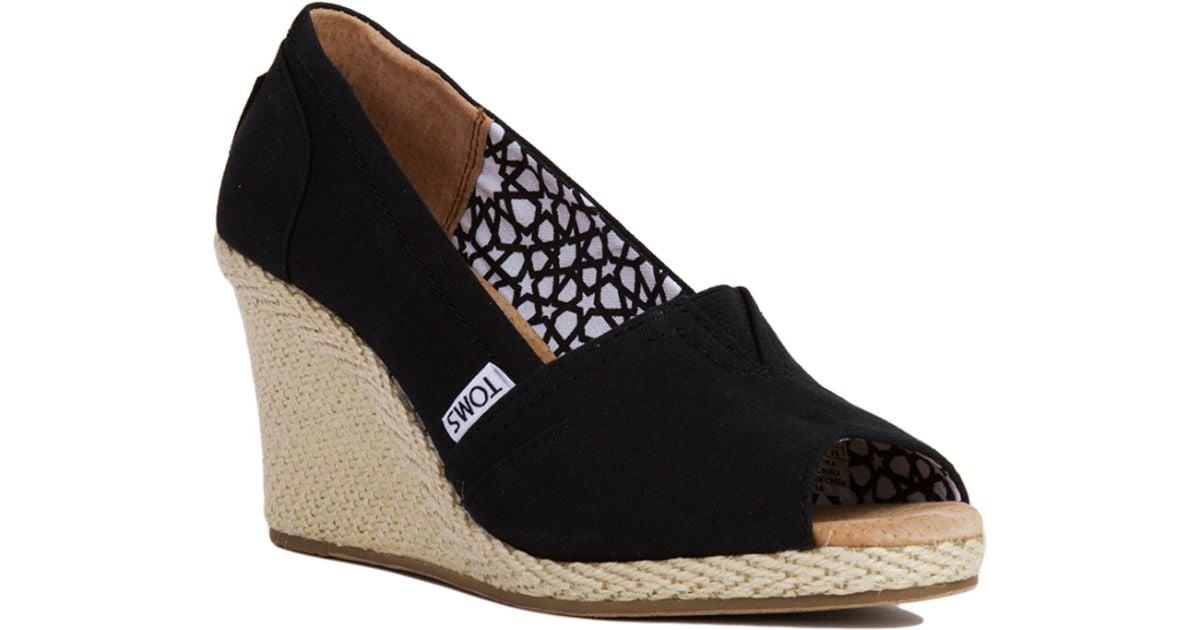 32f0062c6aa TOMS Black Canvas Peep Toe Wedge Sandals