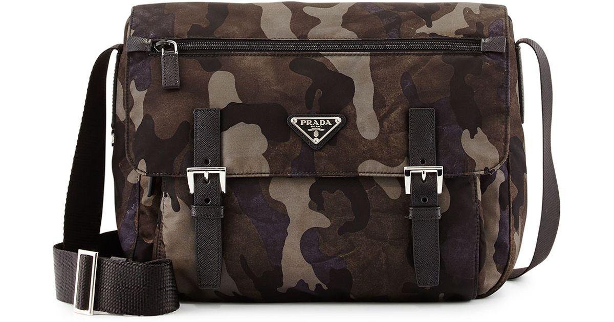 1bd8d6adb6cb76 ... purchase lyst prada tessuto camouflage messenger bag in gray for men  225c3 adf11
