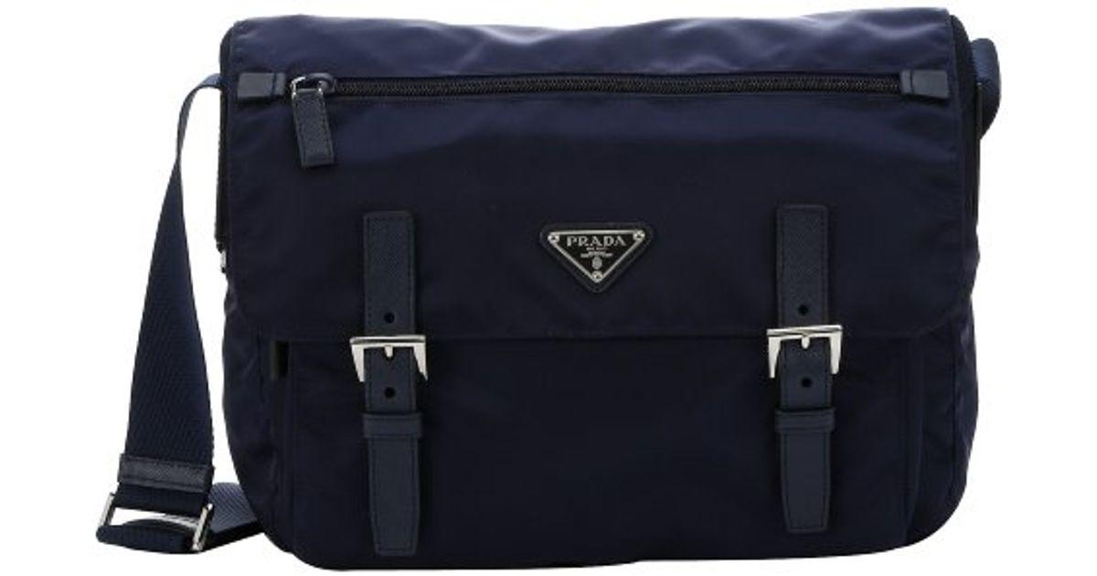 4aa78abf44 ... germany lyst prada navy blue nylon medium messenger bag in blue b892c  70338