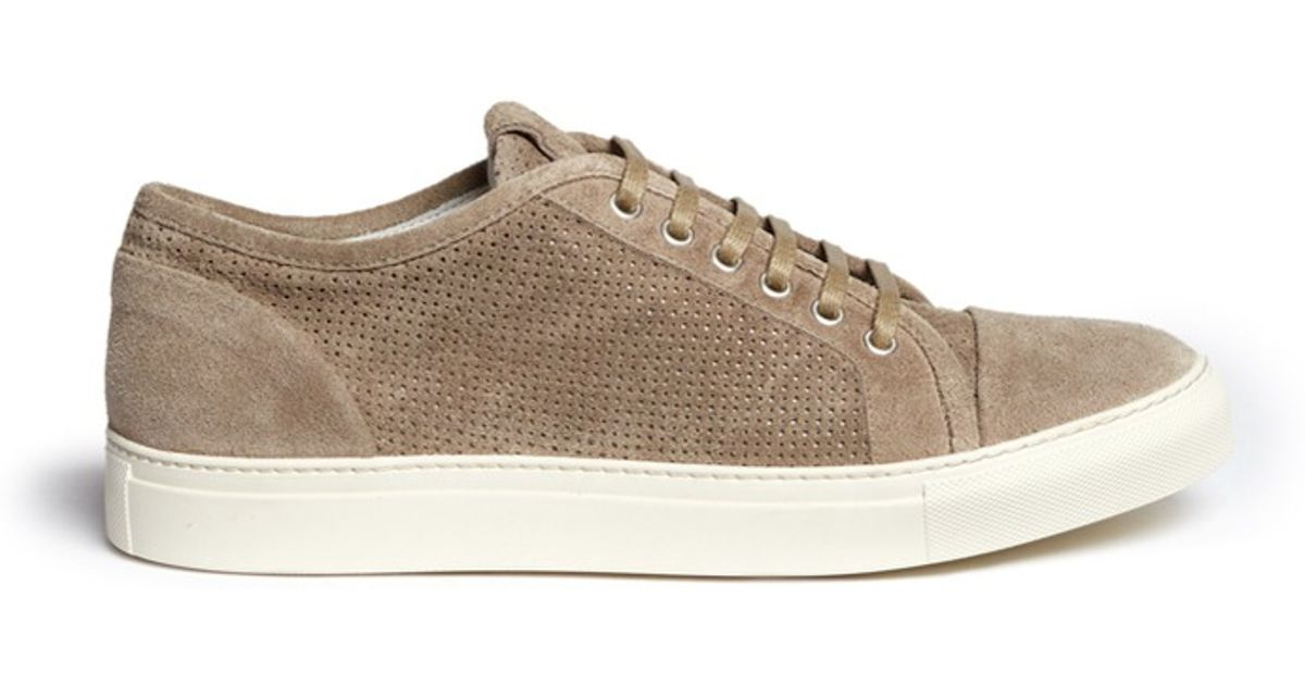 Armani Perforated Suede Sneakers in