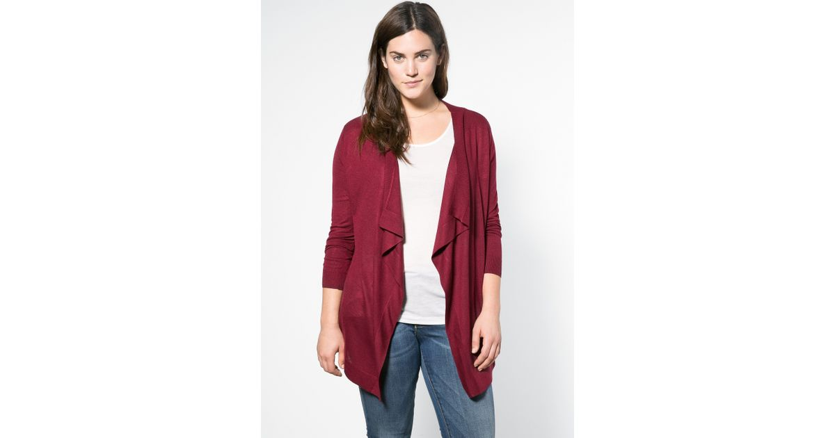 Violeta by mango Elbow Patch Waterfall Cardigan in Red | Lyst
