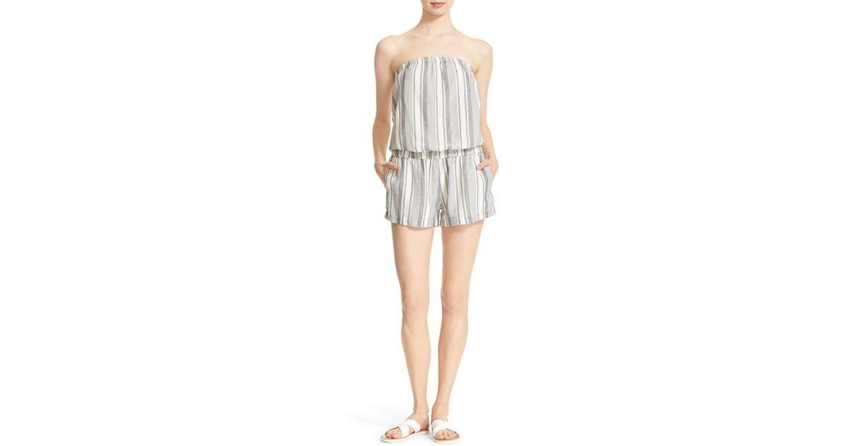 8b52967e5684 Lyst - Soft Joie  gidget  Strapless Stripe Cotton Romper