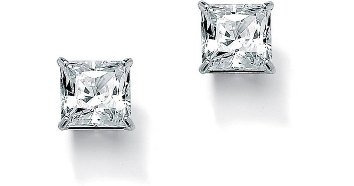 Real Diamond 14k White Gold Over Small Square Princess Cut Stud Earrings