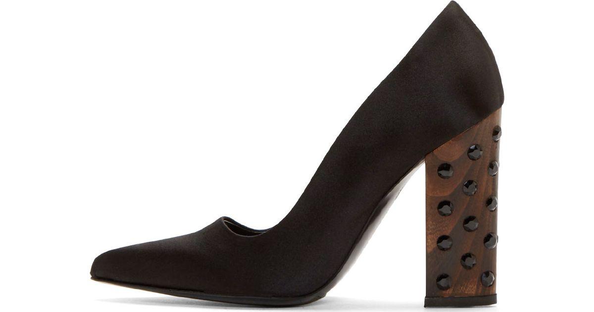 fa0d614c411 Lyst - Stella McCartney Black Embellished Wooden Heel Pumps in Black