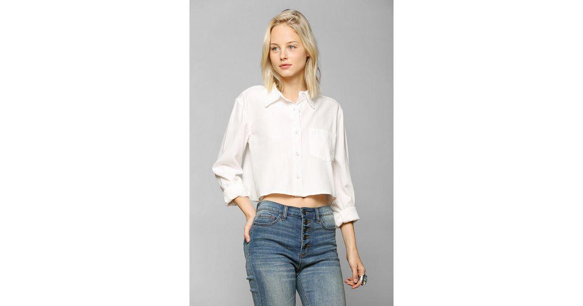 0032977fae4dd Lyst - BDG Bdg Cropped Oxford Shirt in White