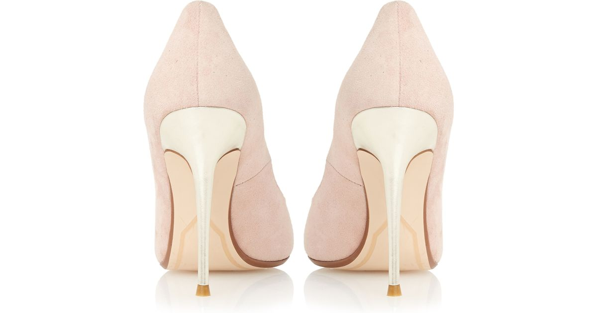 dune bonni suede pointed court shoes in pink lyst