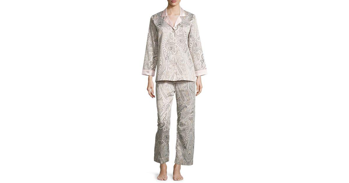 f45e838b67 Lyst - Oscar De La Renta Brushed-back Satin Paisley-print Long-sleeve Pajama  Set in Gray