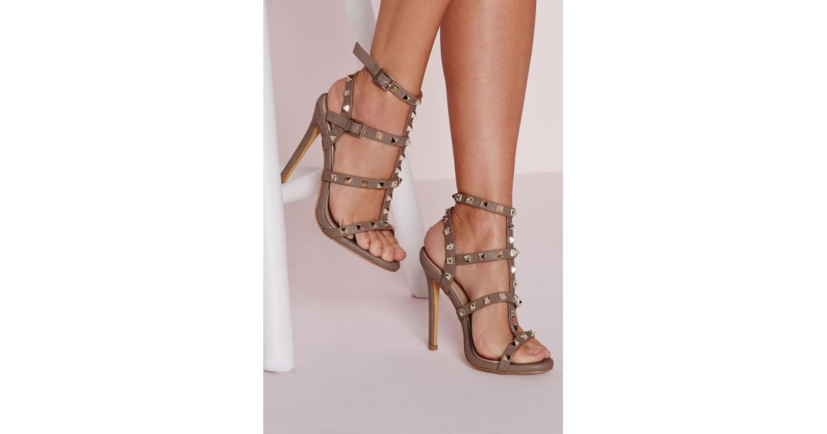 8be1fa1e5c8 Missguided Studded Heeled Gladiator Sandals Taupe - Lyst