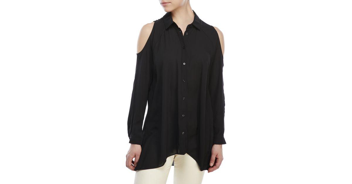 b4f2b38ea382a Lyst - ABS By Allen Schwartz Cold-Shoulder Button-Down Shirt in Black