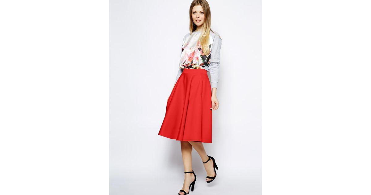 Asos Full Midi Skirt In Scuba With Pockets in Orange | Lyst