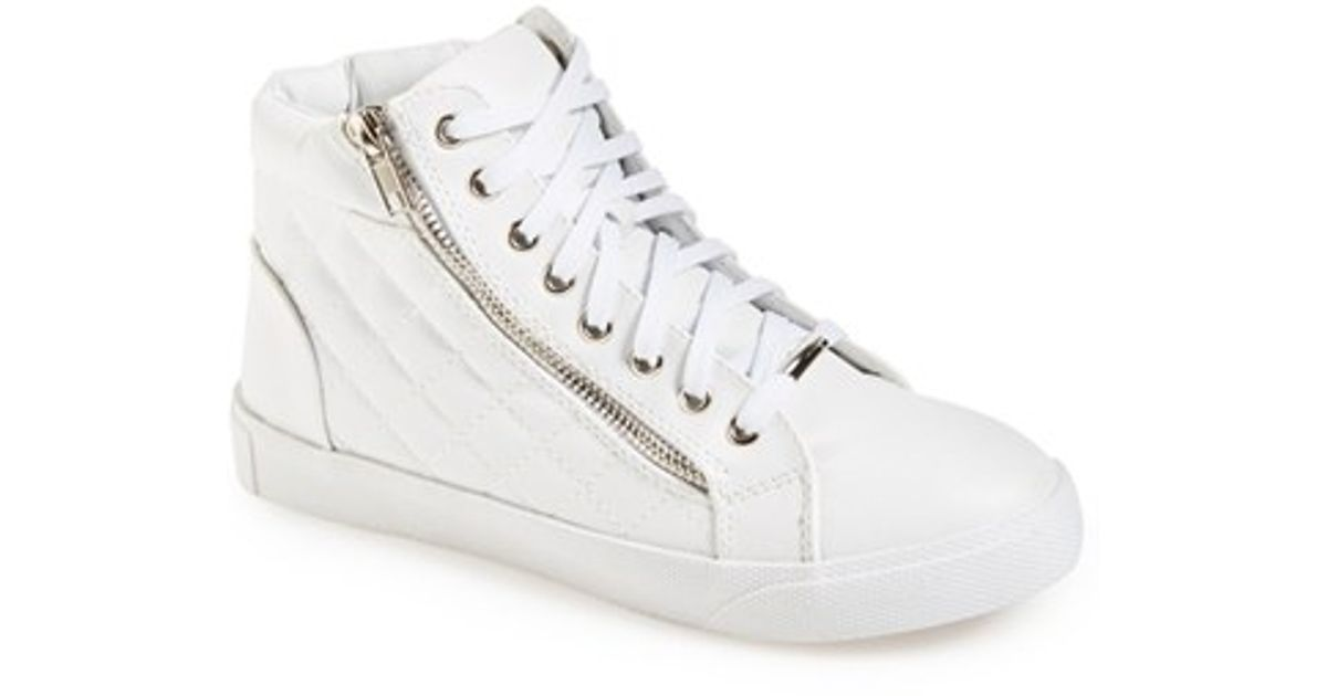 770a1b55b9d Steve Madden White 'decaf' Quilted High Top Sneaker