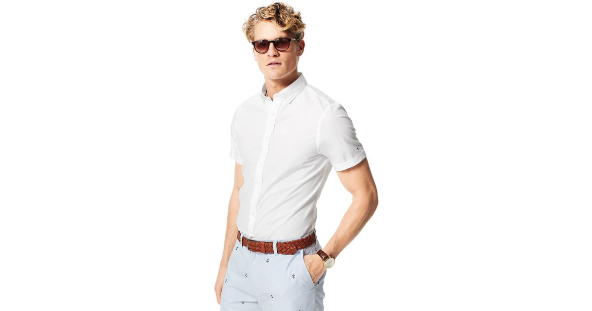 Tommy Hilfiger Slim Fit Short Sleeve Shirt In White For