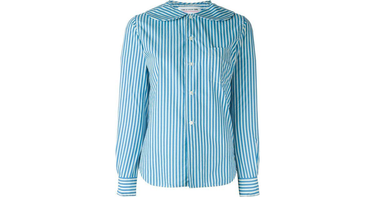c97104a3 Comme des Garçons Peter Pan Collar Striped Shirt in Blue - Lyst