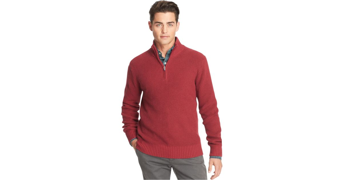 Izod Shaker Ribbed Quarter-Zip Sweater in Natural for Men | Lyst