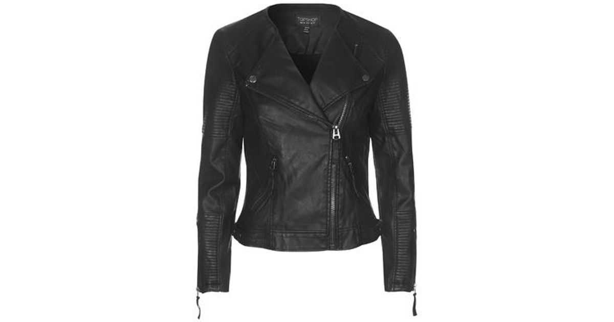 Lyst - Topshop Faux Leather Quilted Detail Biker Jacket in Black : leather quilted biker jacket - Adamdwight.com