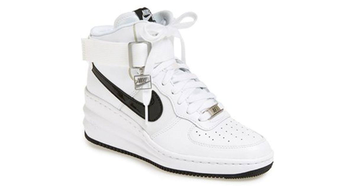 5d1a84df779a Lyst - Nike  lunar Force Sky Hi  Wedge Sneaker in White