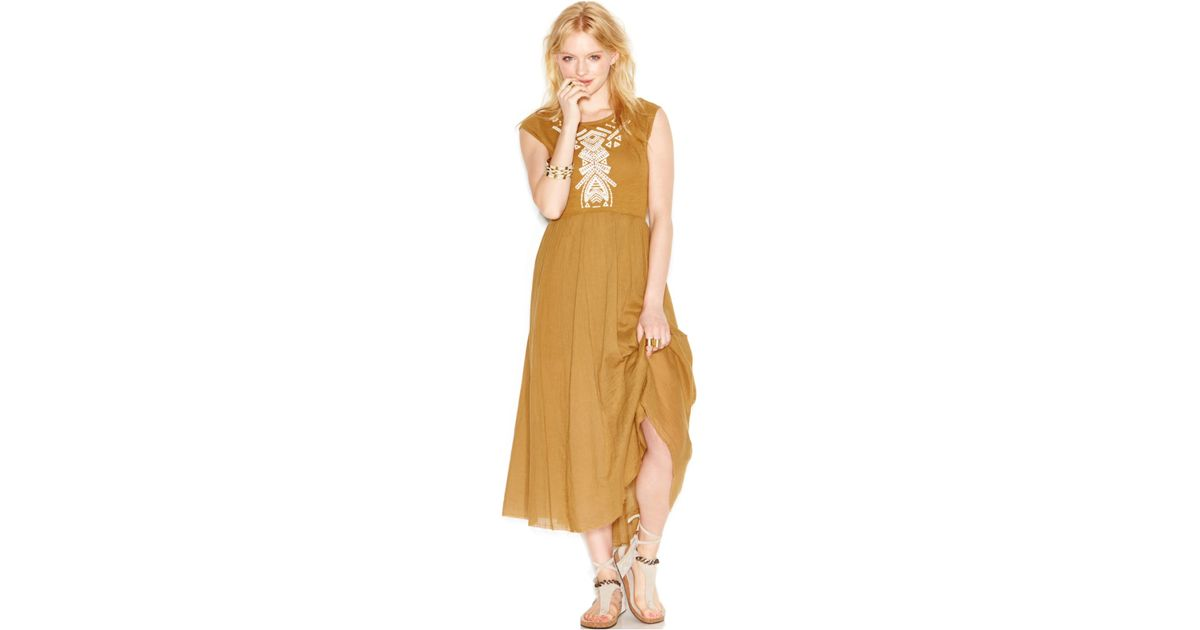Free people embroidered cutout midi dress in brown lyst