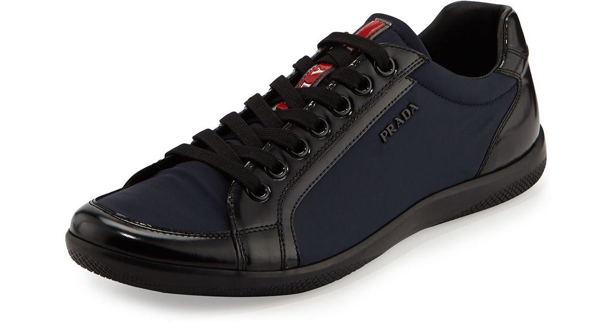 Prada Nylon And Spazzolato Low Top Sneaker In Blue For Men