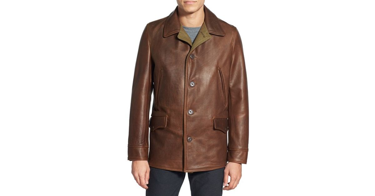 Schott nyc Retro Leather Car Coat in Brown for Men | Lyst