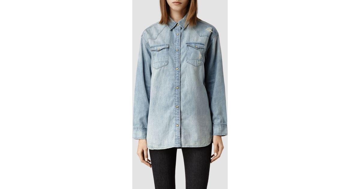 1f10822f76 Lyst - AllSaints Womens Cannon Shirt in Blue