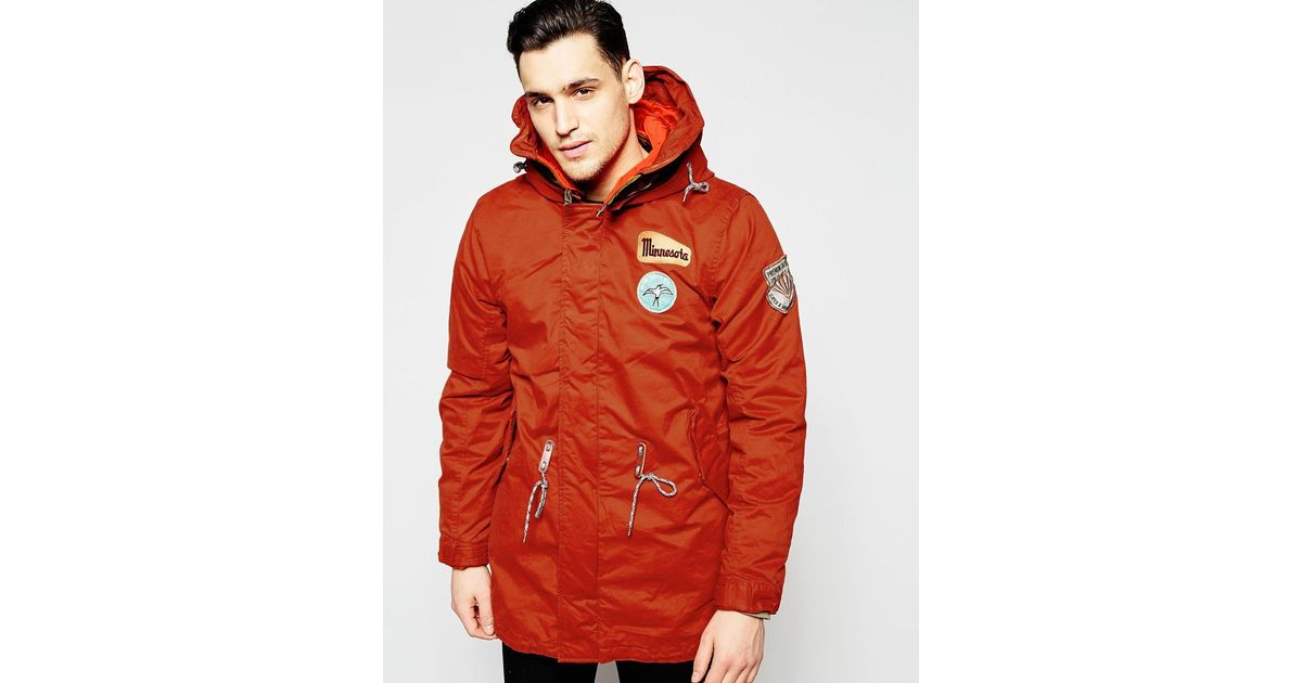 scotch soda classic parka jacket in red for men lyst. Black Bedroom Furniture Sets. Home Design Ideas