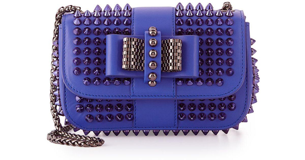 602b2c9e737 Christian Louboutin Blue Sweet Charity Small Spiked Crossbody Bag