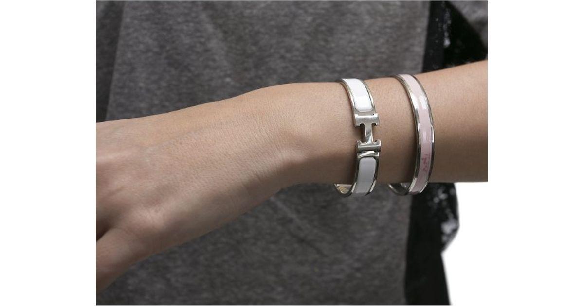 Lyst Hermès Pre Owned White Enamel Silver Clic Clac Pm Bracelet In