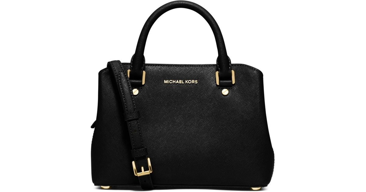 e5d859930123 Michael Kors Savannah Small Saffiano Leather Satchel in Black - Lyst