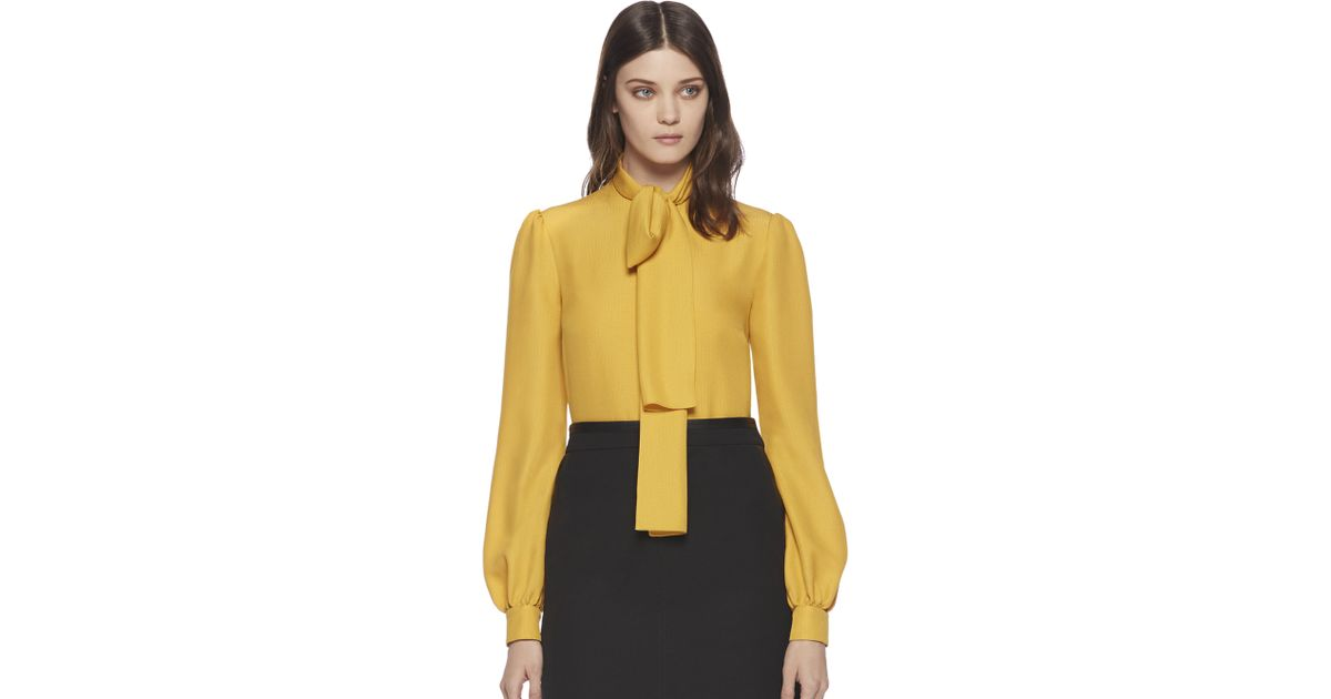 113c80c0b22a9 Lyst - Gucci Silk Cloque Scarf Blouse in Yellow