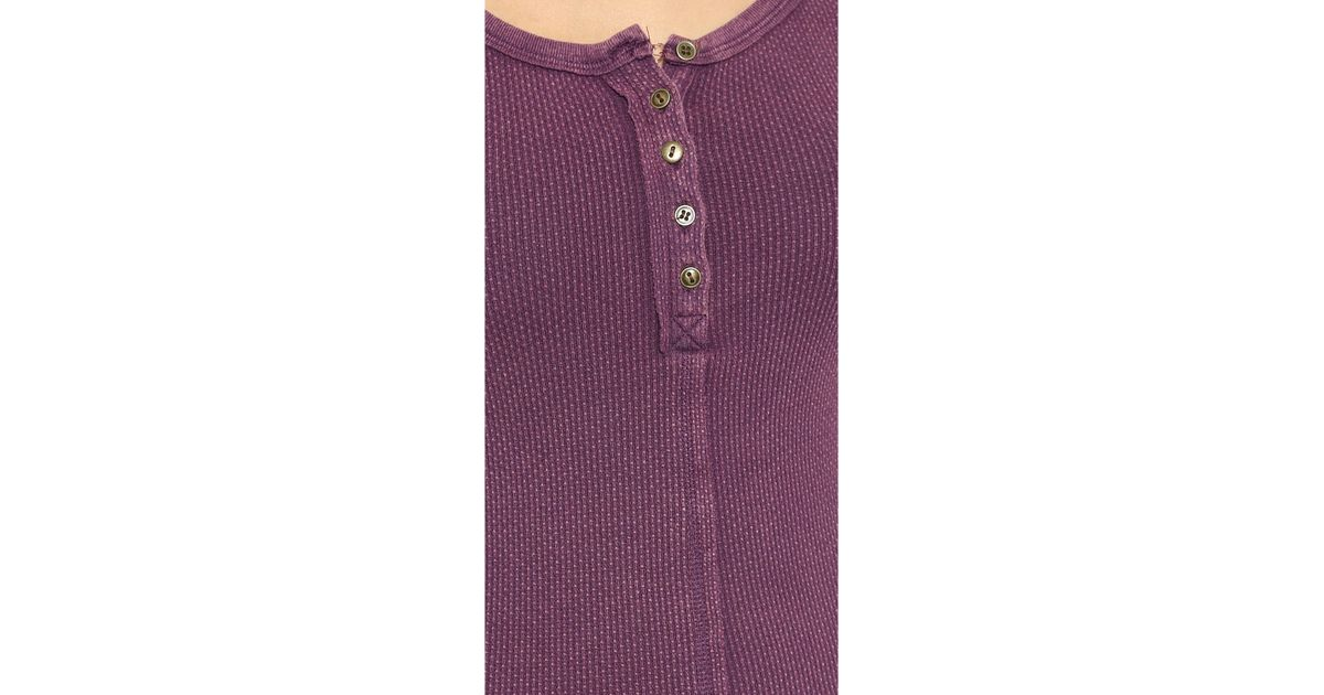 22fda54715e1 Lyst - Free People Alpine Cuff Newbie Thermal Top - Black in Purple