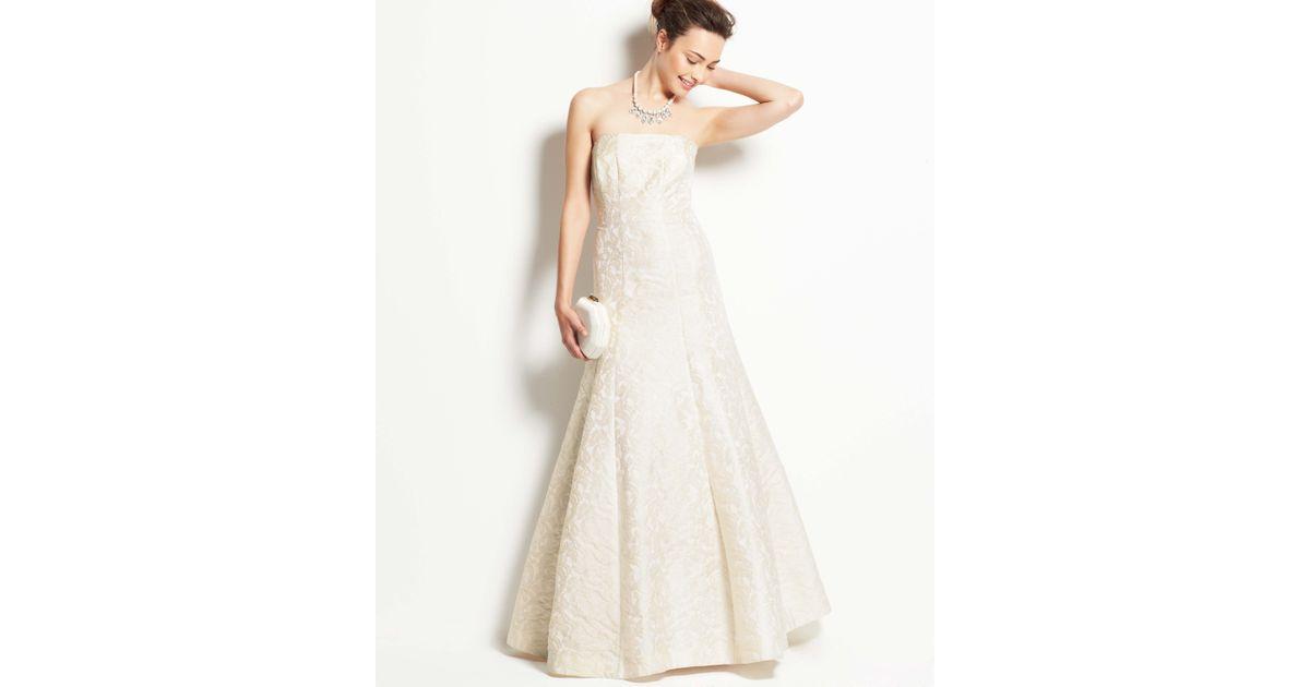 Ann taylor jacquard strapless wedding dress in white lyst junglespirit Choice Image