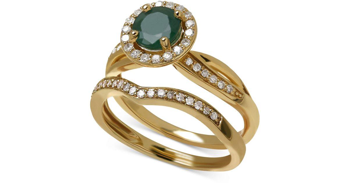 Macy s Emerald 4 5 Ct T w And Diamond 1 3 Ct T w Bridal Set In 14