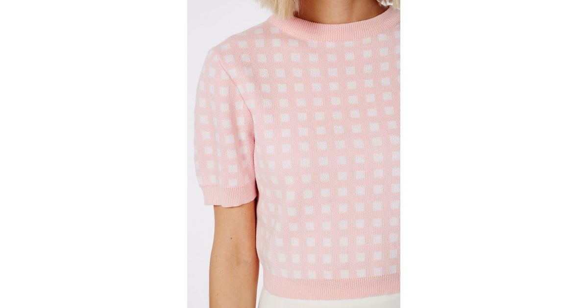 Missguided Short Sleeve Gingham Crop Sweater Pale Pink in Pink | Lyst