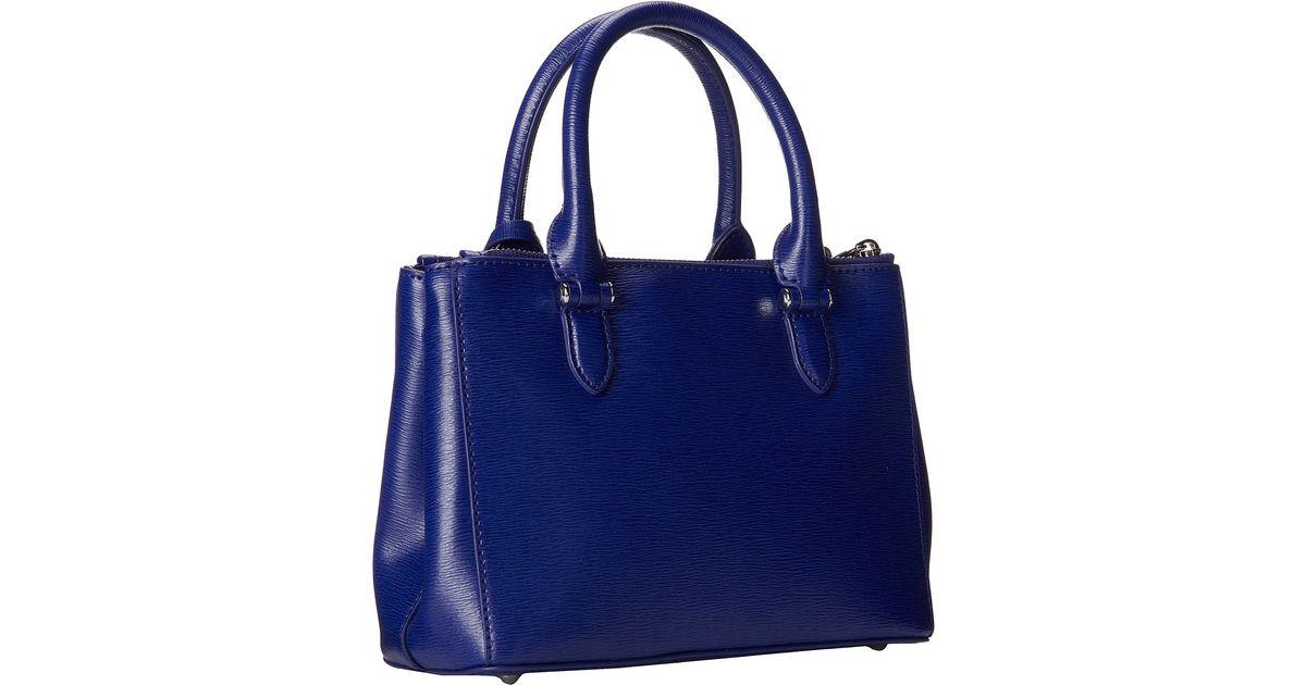 43bd38479bb Lyst - Lauren by Ralph Lauren Newbury Mini Double Zip Satchel in Blue