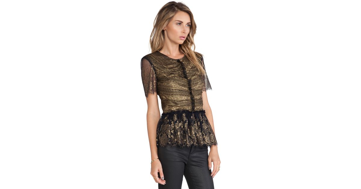 53d1a145d2a7fe Marchesa Voyage Lace Ruffle Top in Black - Lyst
