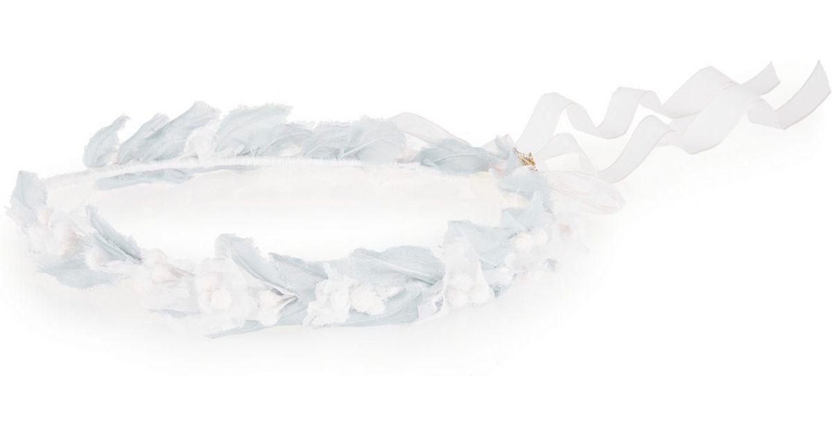 Lyst maison michel edelweiss silk floral embellished headband in white mightylinksfo