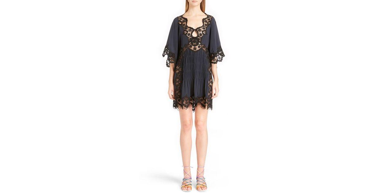 Chloé Blue Smocked Scalloped Lace Trim Silk Dress