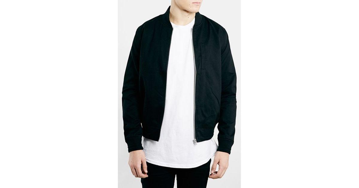 Topman Black Cotton Bomber Jacket in Black for Men | Lyst