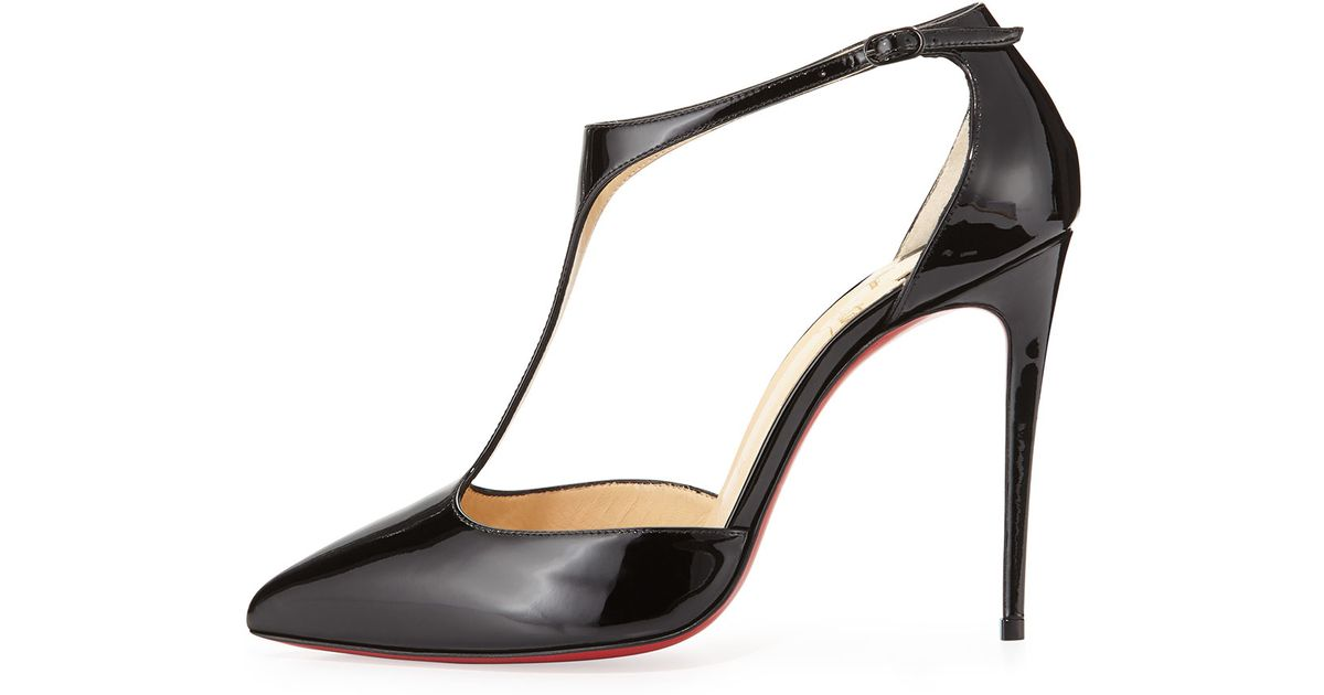 christian louboutin j string patent red sole pump black