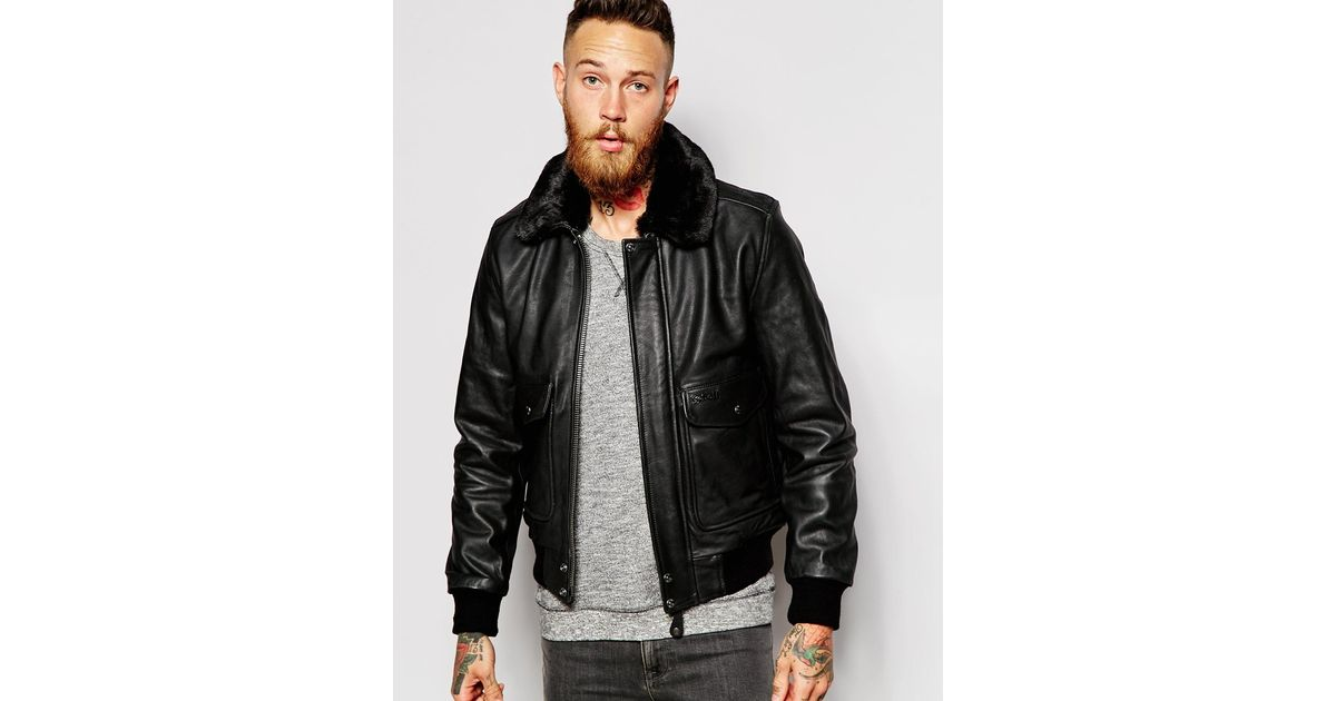 1d3a6c438 Schott Nyc Black Leather Flight Jacket With Faux Fur Collar for men