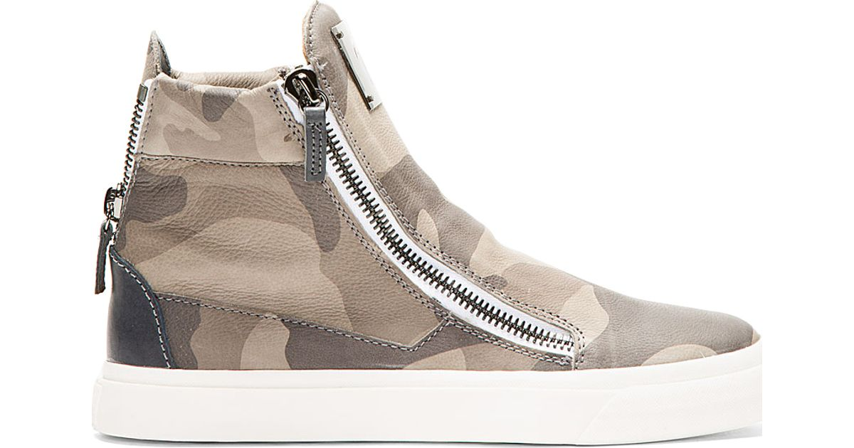 9fd16a6d5613b Giuseppe Zanotti Grey Leather Camo High_Top Sneakers in Brown for Men - Lyst