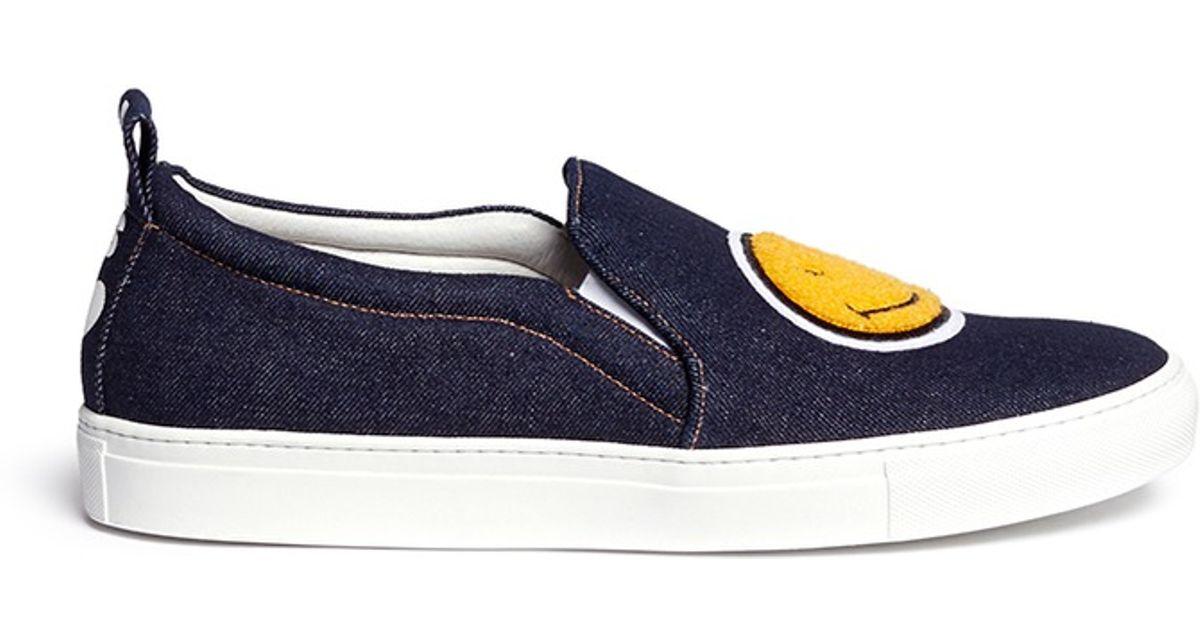 Lyst joshua sanders smiley appliqué denim slip on sneakers in blue