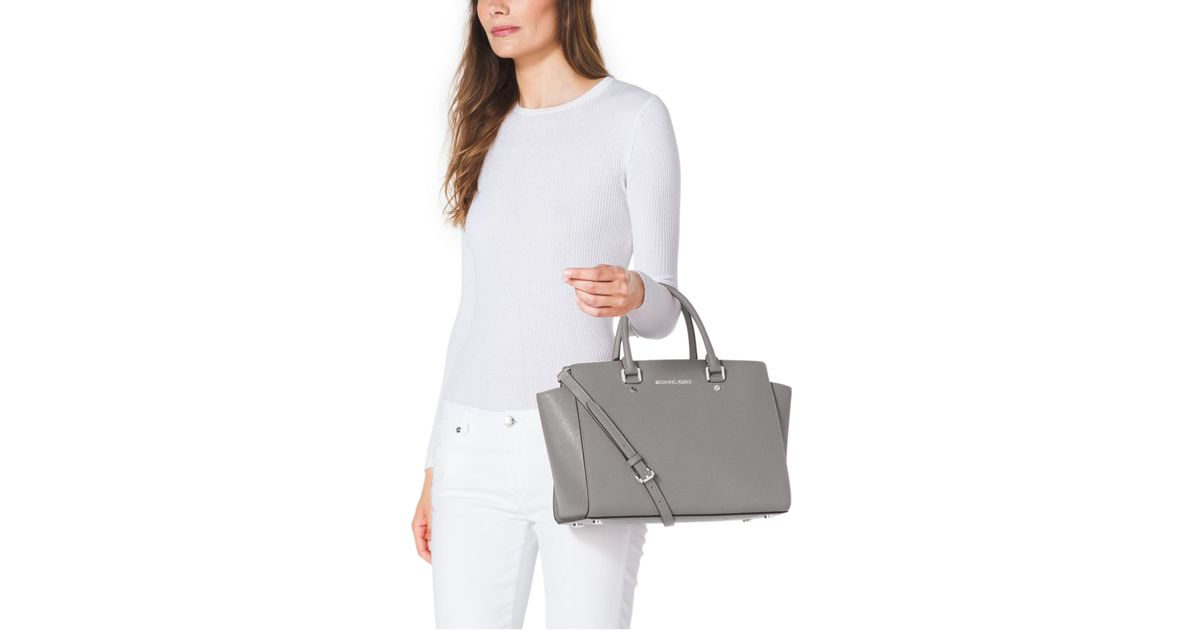 48f928dd803d Lyst - Michael Kors Selma Large Saffiano Leather Satchel in Gray
