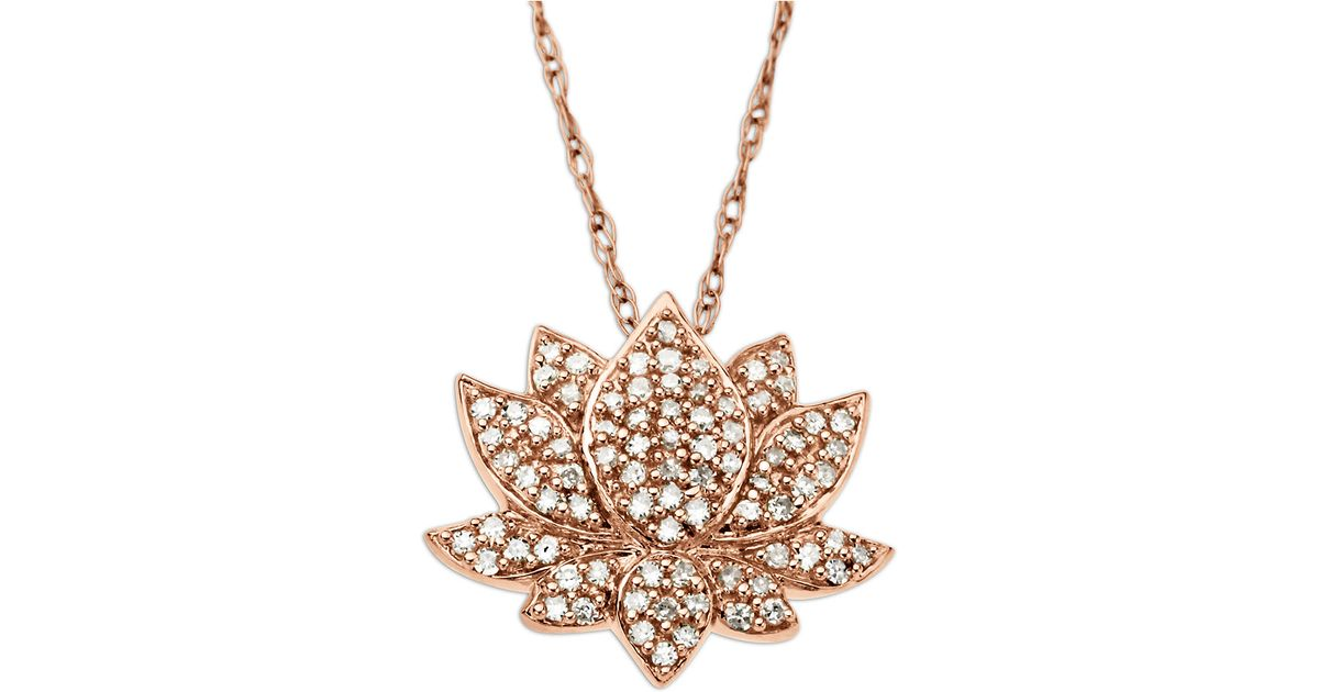 Lyst lord taylor 14 kt rose gold diamond lotus flower pendant lyst lord taylor 14 kt rose gold diamond lotus flower pendant in metallic mozeypictures Choice Image